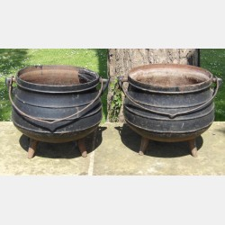 Two Old Cast Iron Pots