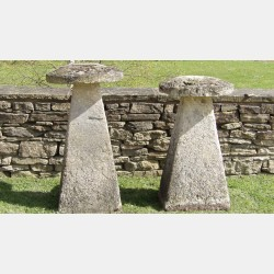 Two Tall Limestone Staddle Stones
