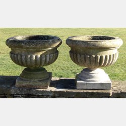 Pair Antique Stone Urns