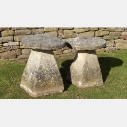 Two Limestone Staddle Stones