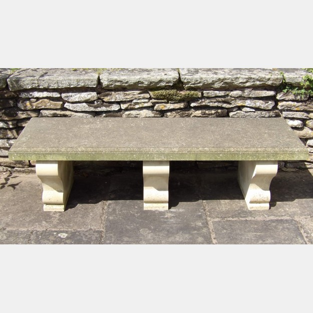 A Carved Limestone Bench
