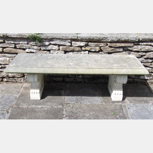 A Carved Limestone Garden Bench