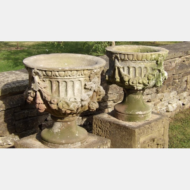 Pair of Antique Stone Urns