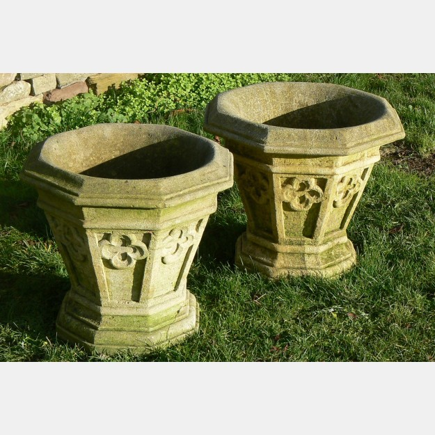 Pair Weathered Stone Planters